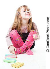 Little girl with chalks stick her tongue out - Happy little...