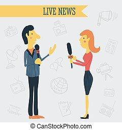 Journalist news reporter interview holding microphones on...