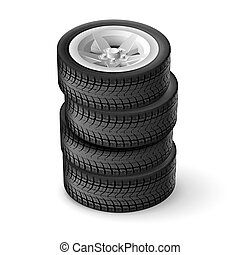 Wheel - Bunch car wheels isolated on a white background