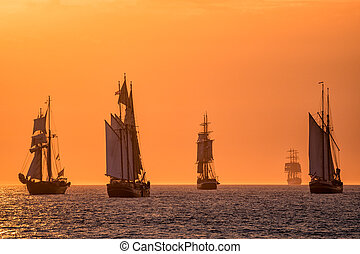 Sailing ships on the Baltic Sea in Rostock (Germany).