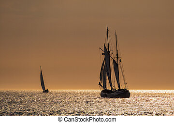 Sailing ships on the Baltic Sea in Rostock Germany