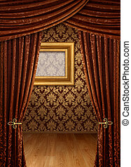 Grand opening room - Grand opening showroom with gold damask...