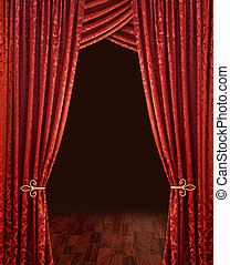 red theatre curtains - Red theatre stage curtains brown...