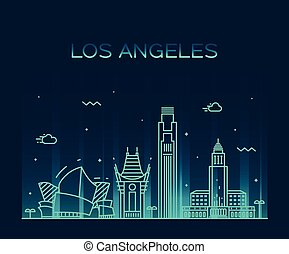 Los Angeles skyline vector illustration linear - Los Angeles...