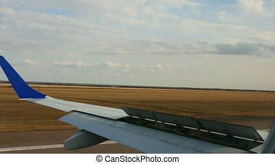 Landing airplane - View from landing airplane, airport of...