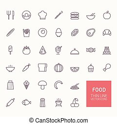 Food Outline Icons for web and mobile apps