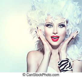 Surprised woman in white feather wig, holiday make up