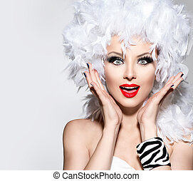 Funny surprised woman in white feather wig