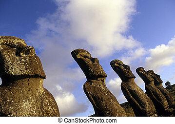 moai-, Pascua, isla,  chile