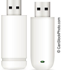 USB flash drive set on a white background
