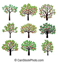 Set of Apple Trees Vector Illustration