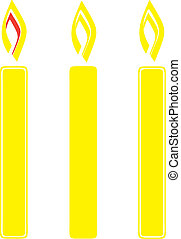 Three candles on a white background