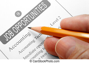 Job Opportunity Classified Advertising with Human Hand...
