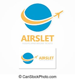 Logo combination of a globe and airplane