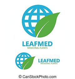 Logo combination of a leaf and globe - Vector logo design...