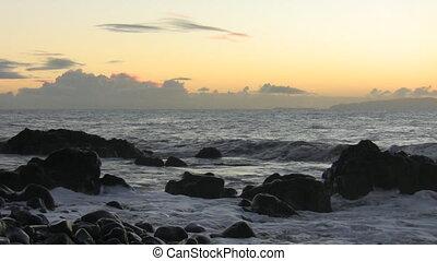 Atlantic ocean Madeira before dawn - Atlantic ocean waves...