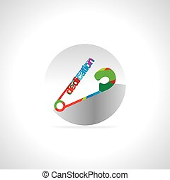 dedication concept - colorful dedication concept safety pin...
