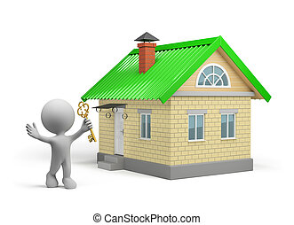 New house - The man with a key to a new home 3d image White...