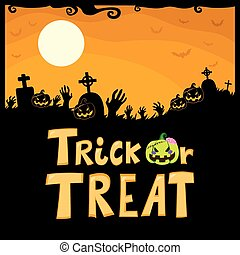 Trick Or Treat Cemetery - Halloween theme design of cemetery...