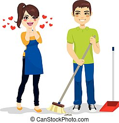 Woman Loves Boyfriend Cleaning - Happy surprised woman loves...