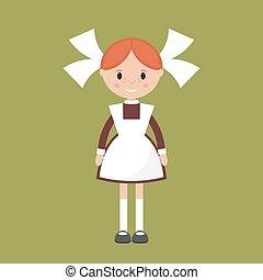Soviet schoolgirl vector - Soviet schoolgirl in school...