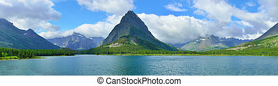 panoramic view of the swiftcurrent lake in Glacier National...