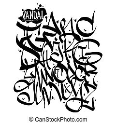 Graffiti font alphabet letters. Hip hop grafitti design