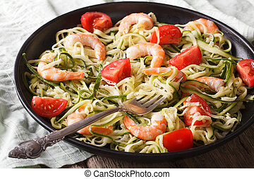 Low calorie zucchini pasta with shrimp macro horizontal -...