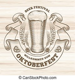 Oktoberfest - Retro styled rubber stamp with beer mug and...