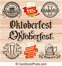 Oktoberfest labels - Retro styled labels set with beer mug...