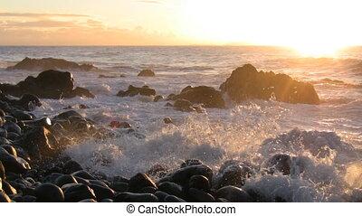 Stone beach at dawn