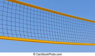 Yellow net and blue sky - Yellow beach volley ball net over...