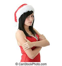 Teen woman wearing Santa hat - Beautiful young woman wearing...