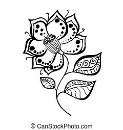 flower - Hand Drawn Sketch of abstract flower. Vector...