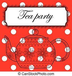 Tea party background - Vector tea party background