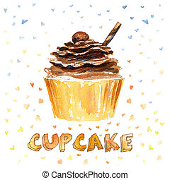 Cupcake. Watercolor hand drawn illustration with sweet...