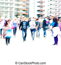 Crowd. - Hurrying crowd of people on the street. Abstract...