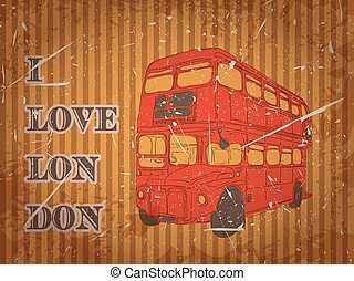 Vintage label with English bus