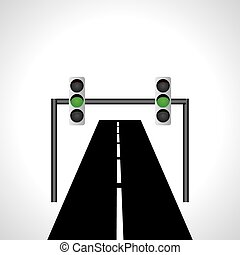 green signal - road with green signal concept idea