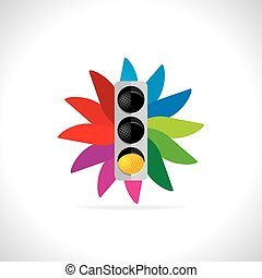 traffic signal over colorful abstract