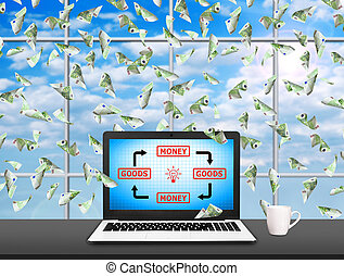 Notebook with goods and money diagram on screen and flying...
