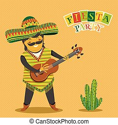 Mexican man playing the guitar - Mexican Fiesta Party...