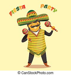 Mexican man playing the maracas - Mexican Fiesta Party...