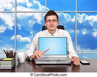 homem negócios, escritório, sentando