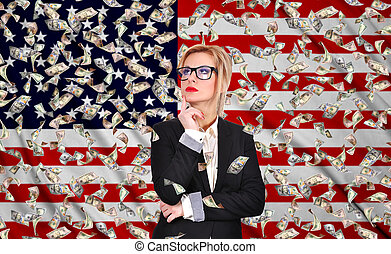 businesswoman thinking and falling dollar bills