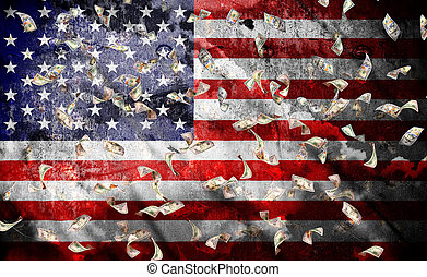 falling dollar bills on a usa flag background