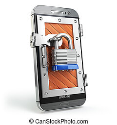 Mobile security or protection concept. Smartphone with padlock.
