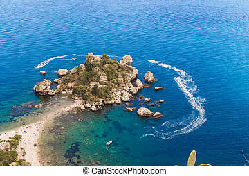 Italy: Aerial view of Isola Bella