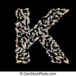 letter K - falling dollar bills in the form of letter K
