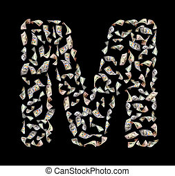 letter M - falling dollar bills in the form of letter M